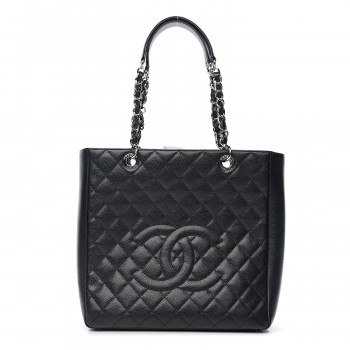 CHANEL Caviar Quilted Petit Shopping Tote PST Black